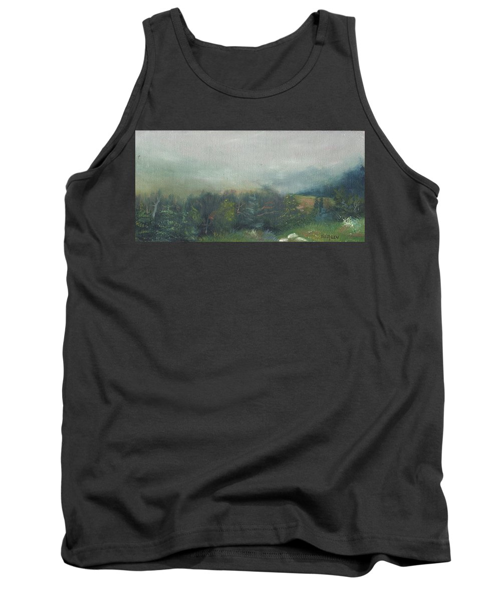 Landscape Tank Top featuring the painting Foggy Morning on Cannon by Sharon E Allen