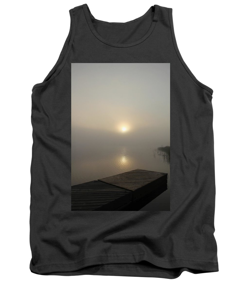 Fog Tank Top featuring the photograph Foggy Reflections by Debbie Oppermann