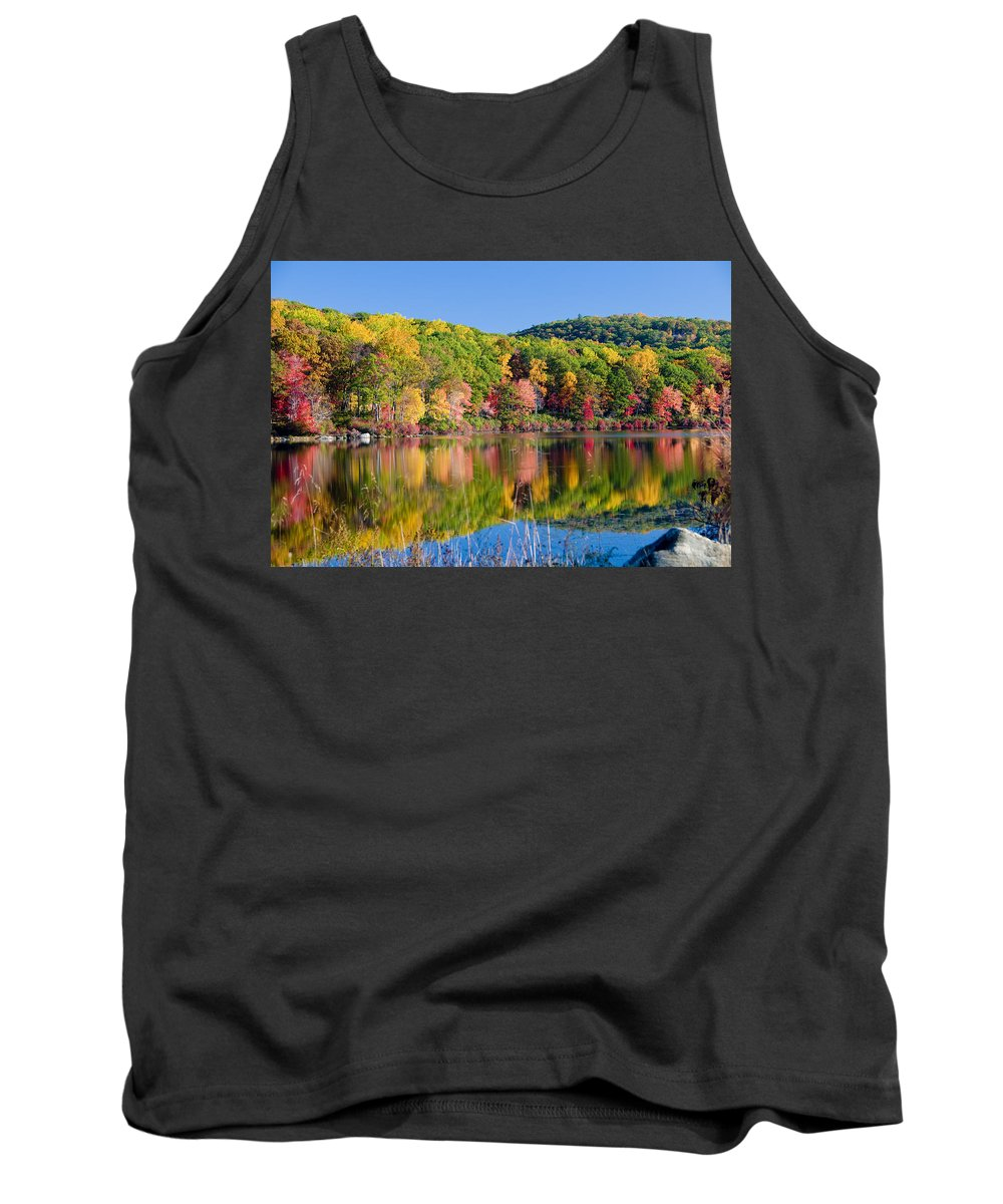 Lake Tank Top featuring the photograph Foilage In The Fall by Anthony Sacco