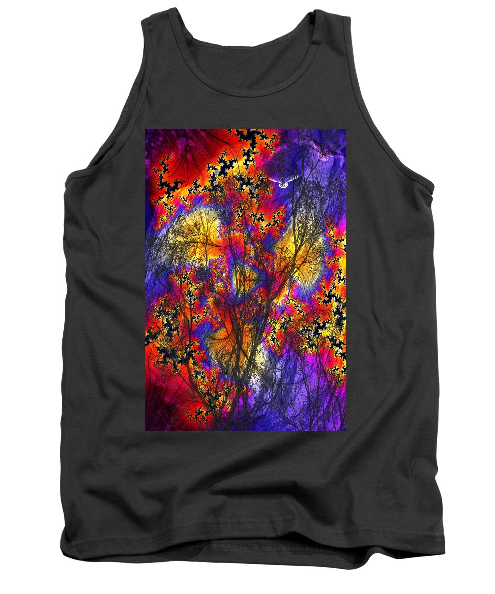 Forest Fire Tank Top featuring the digital art Forest Fire by Lisa Yount