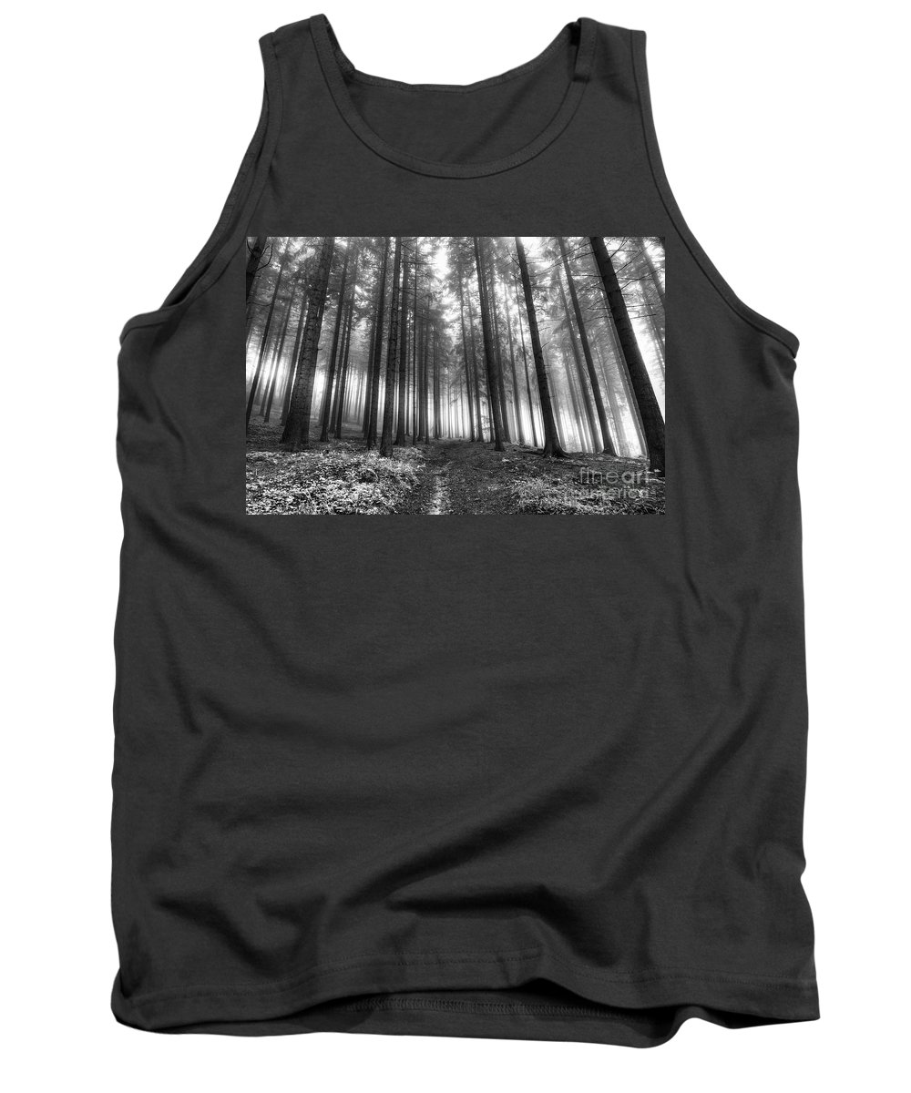Black And White Tank Top featuring the photograph Forest In The Mist by Michal Boubin
