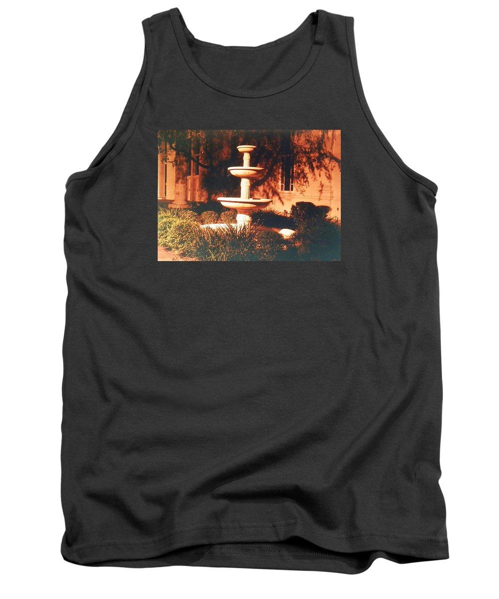 3 Tier Fountain Tank Top featuring the photograph Church Fountain Night Shadows by Belinda Lee