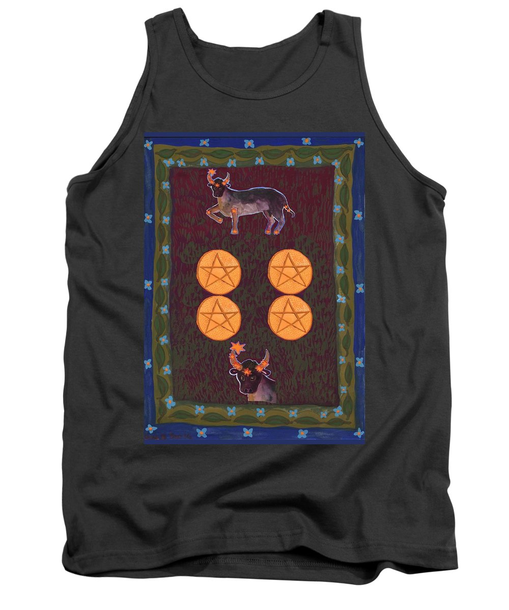 Tarot Tank Top featuring the painting Four Of Pentacles by Sushila Burgess