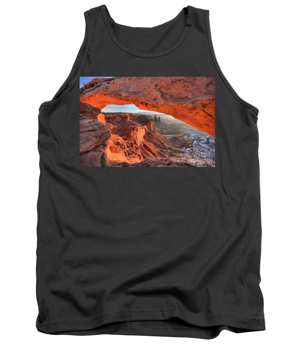Mesa Arch Tank Top featuring the photograph Framed By Mesa Arch by Adam Jewell