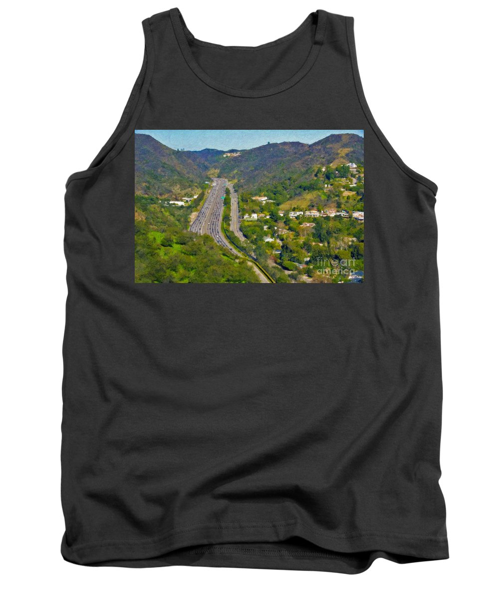 L-405 Sepulveda Pass Traffic Bel Air Crest California Tank Top featuring the photograph Freeway Sepulveda Pass Traffic Bel Air Crest California by David Zanzinger