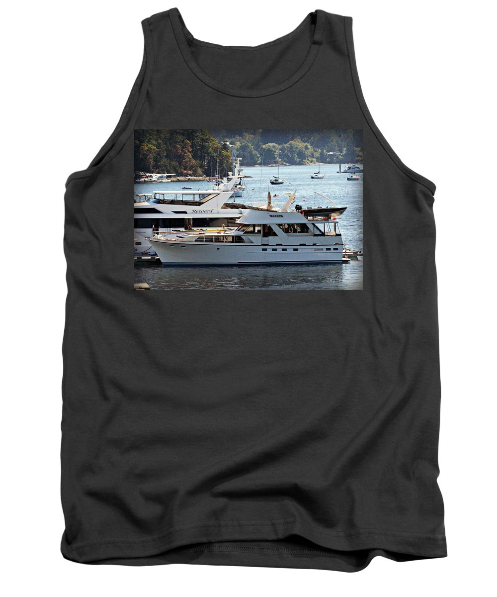 Freia Tank Top featuring the photograph Freia At Ganges Harbor by Steve Natale