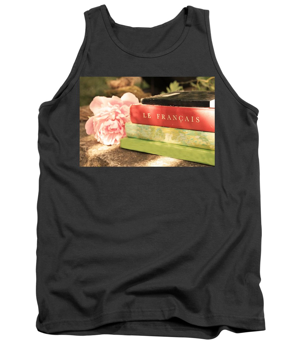 French Books Tank Top featuring the photograph French Books And Peony by Brooke T Ryan