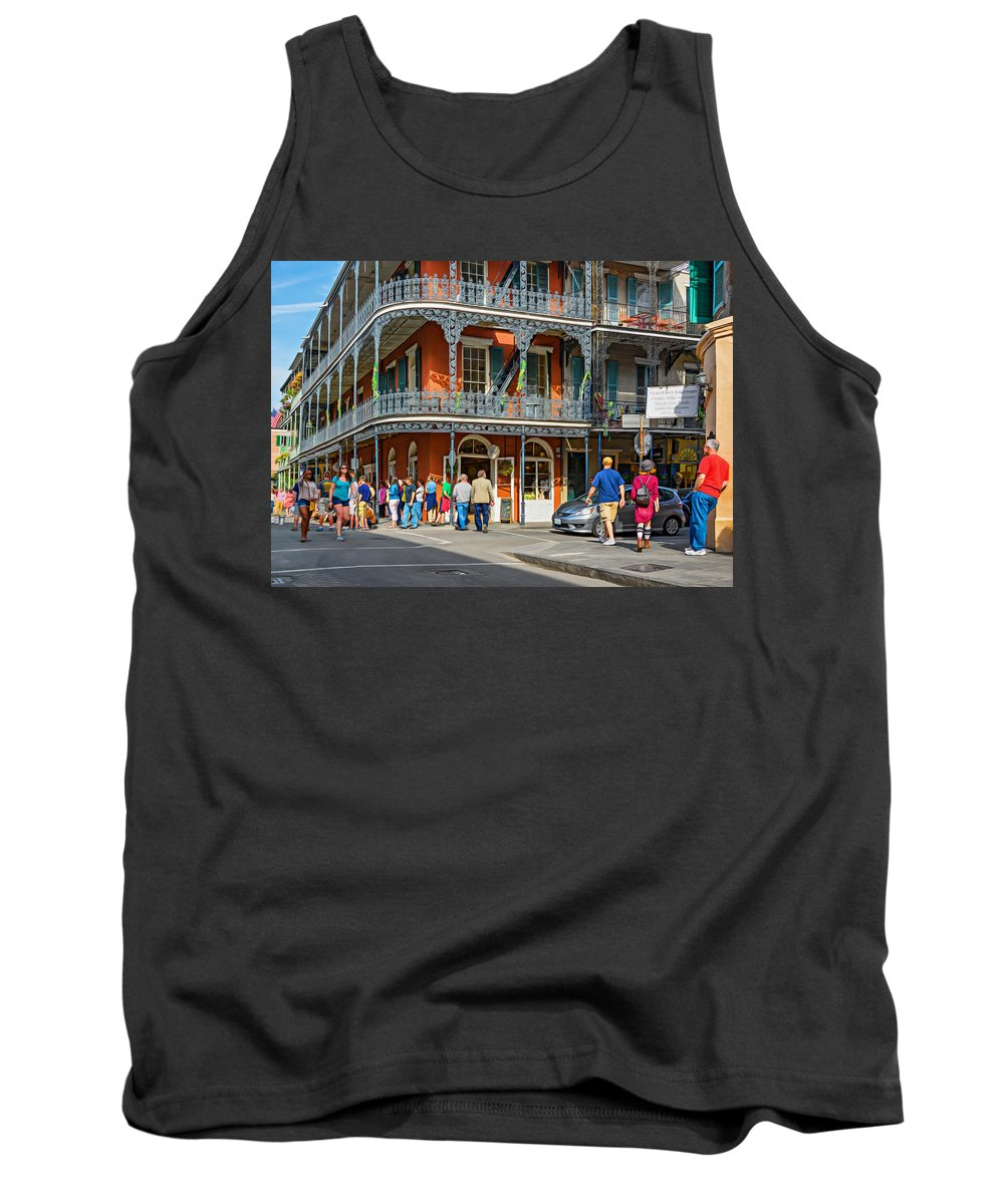 French Quarter Tank Top featuring the photograph French Quarter Wandering 3 by Steve Harrington