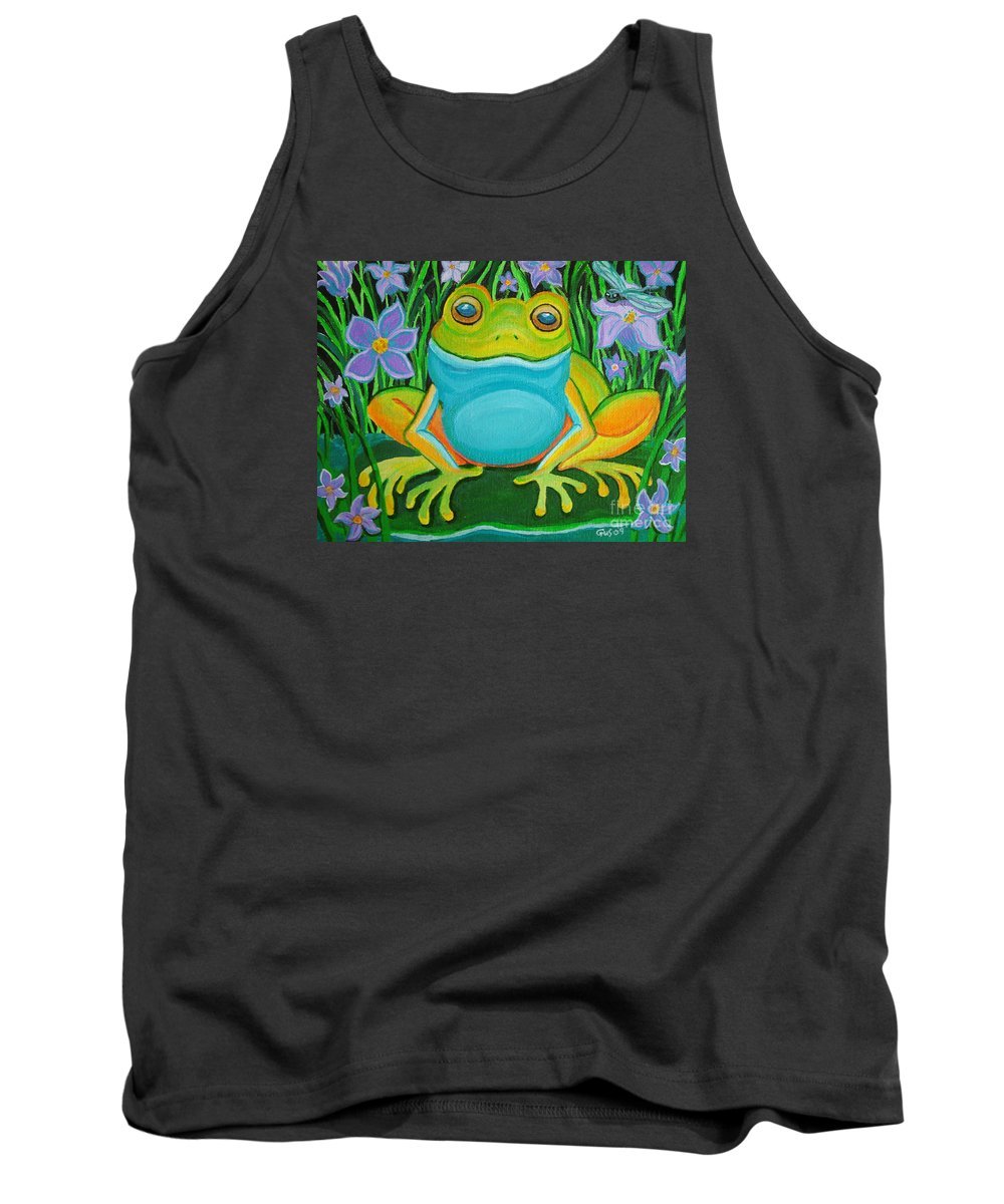 Ffrog Art Tank Top featuring the painting Frog On A Lily Pad by Nick Gustafson