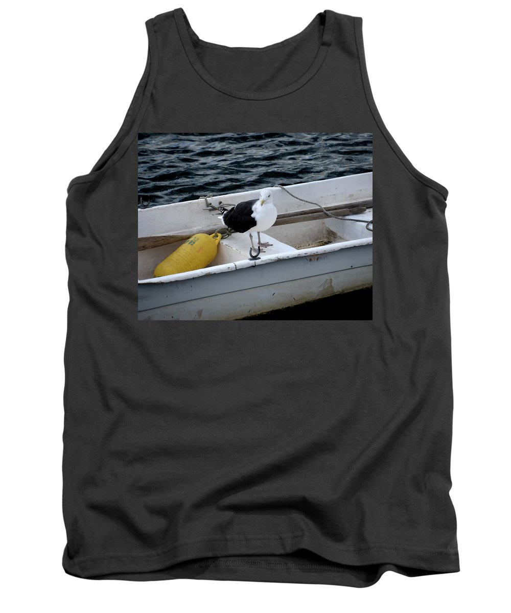 Rockport Tank Top featuring the photograph From Rockport Ma A Seagull Chilling Out In A Rowboat by Toby McGuire