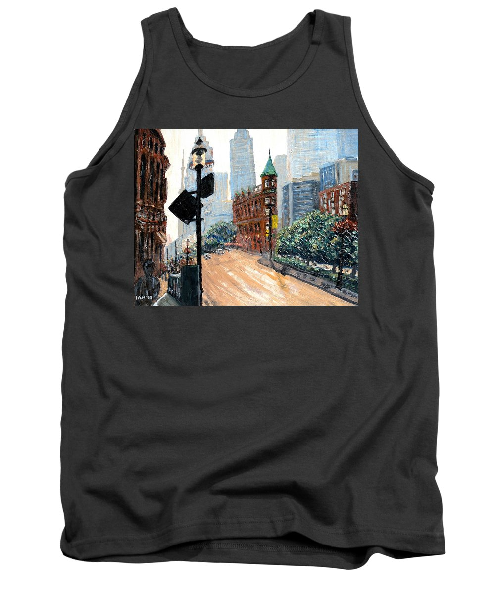 Toronto Tank Top featuring the painting Front And Church by Ian MacDonald