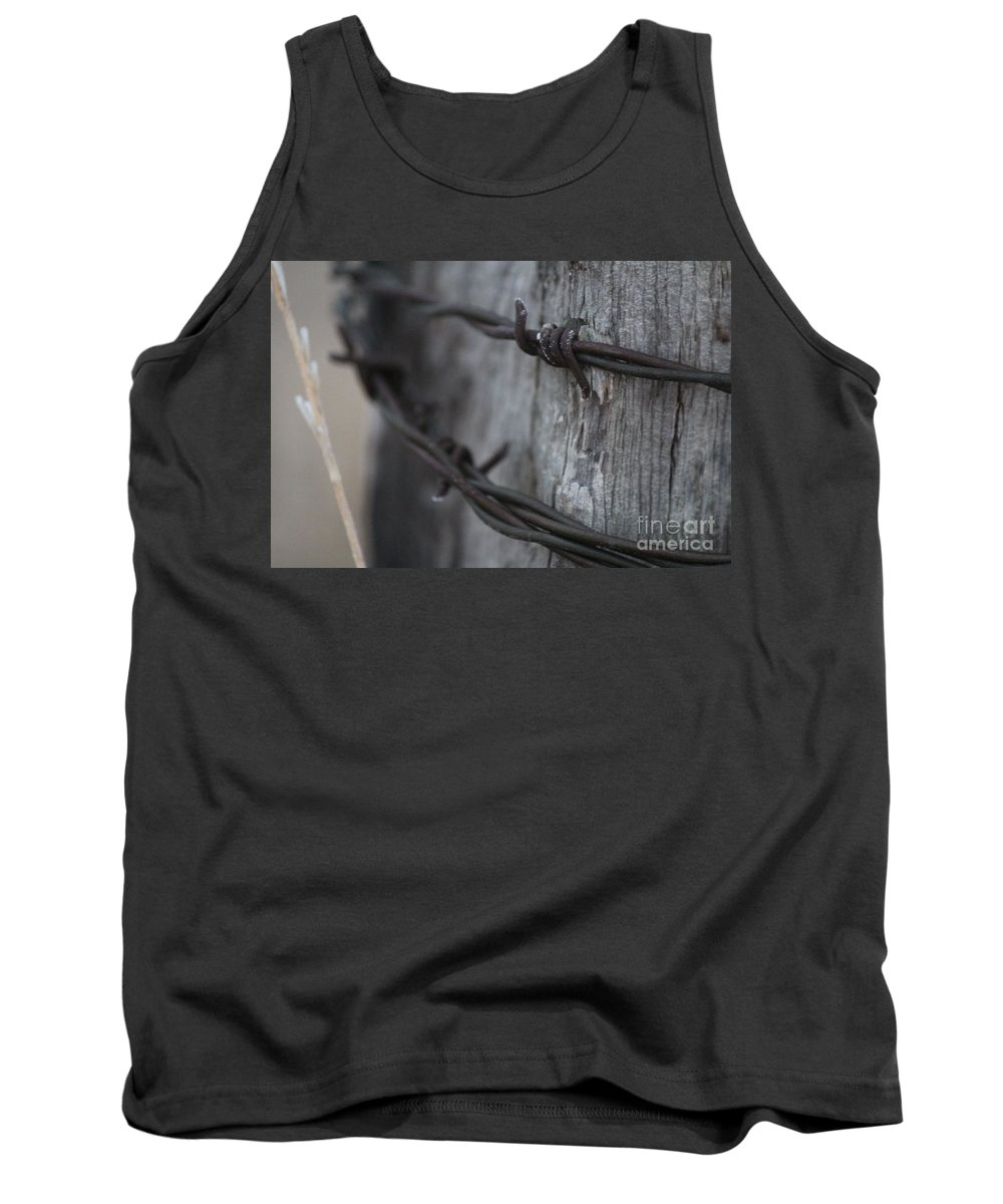 Barbed Wire Tank Top featuring the photograph Frost On The Wire by Ann E Robson