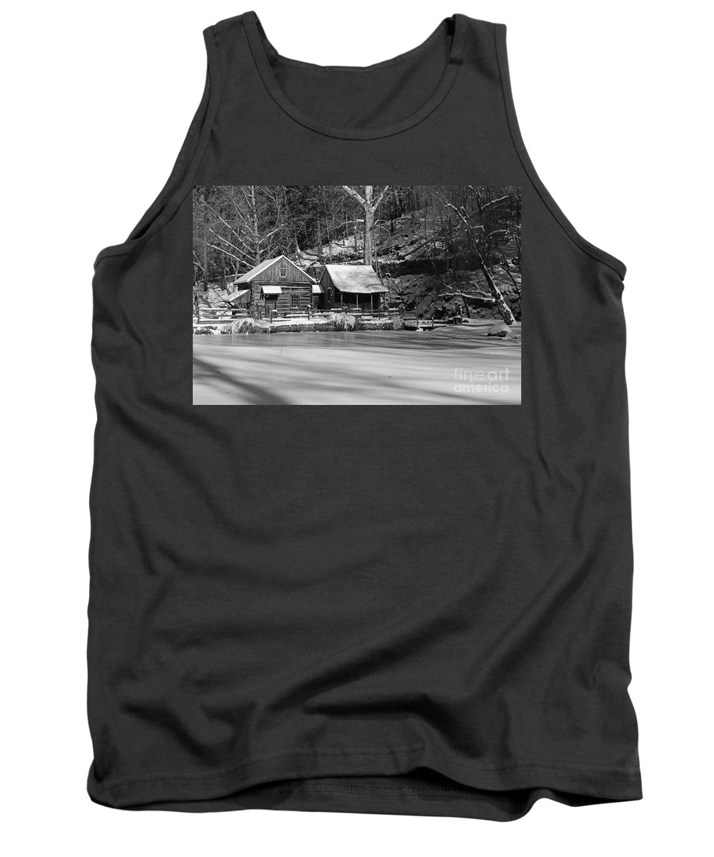 Paul Ward Tank Top featuring the photograph Frozen Pond In Black And White by Paul Ward