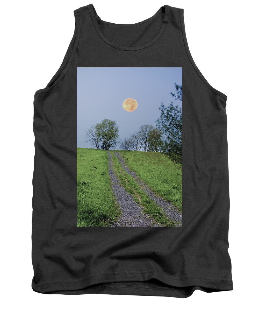 Full Tank Top featuring the photograph Full Moon And A Country Road by Bill Cannon