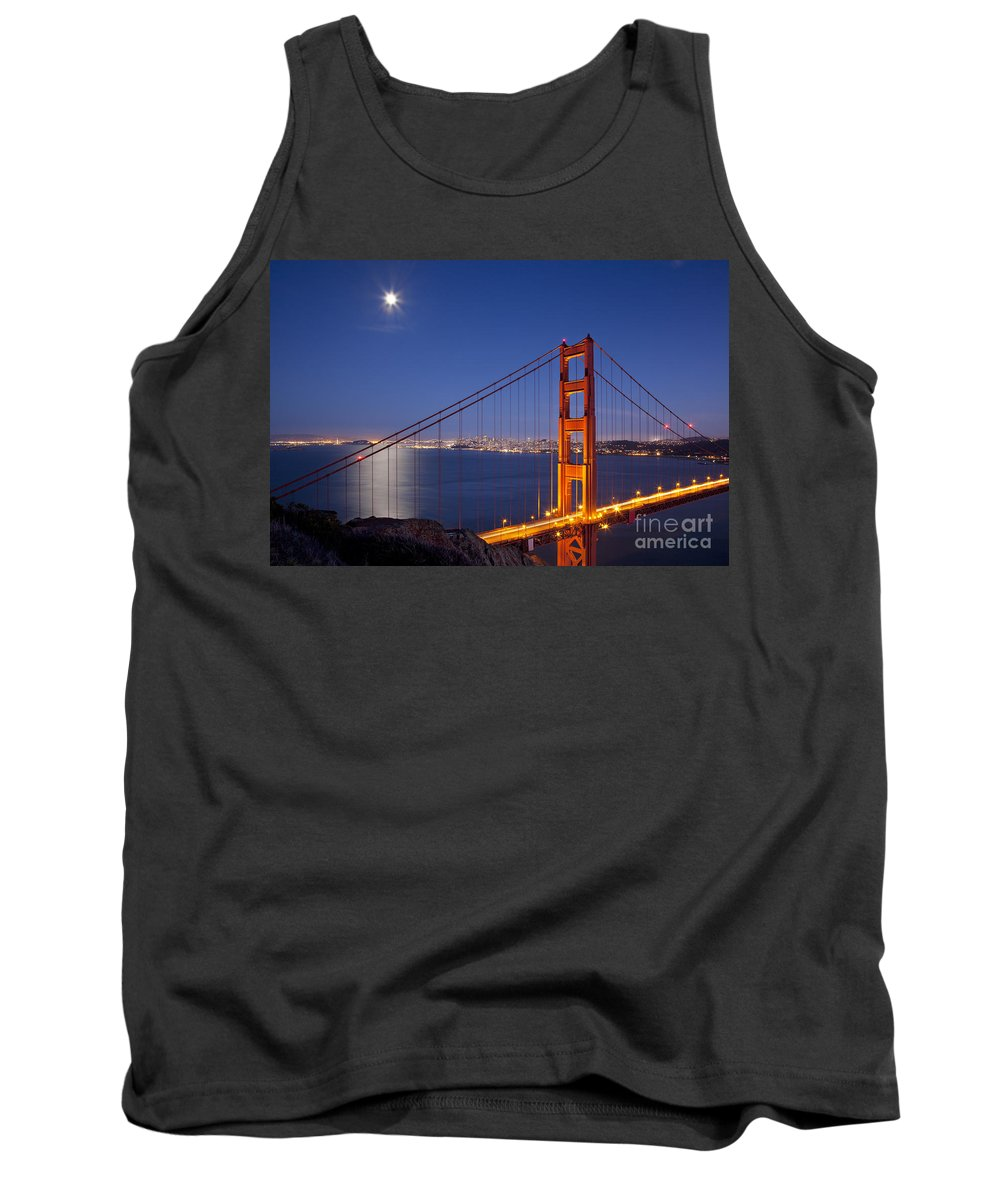 Golden Gate Tank Top featuring the photograph Full Moon Over San Francisco by Brian Jannsen