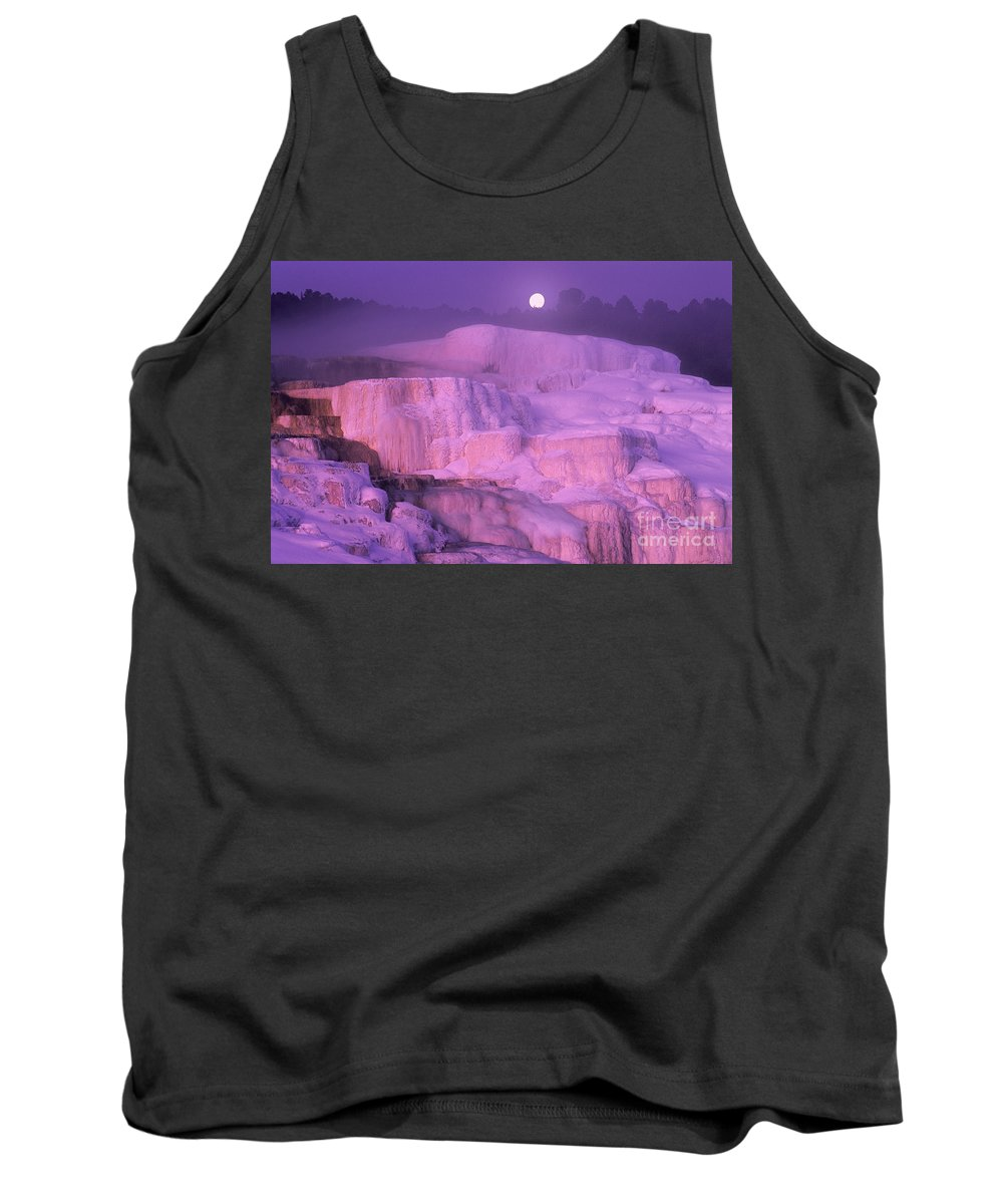 North America Tank Top featuring the photograph Full Moon Sets Over Minerva Springs On A Winter Morning Yellowstone National Park by Dave Welling
