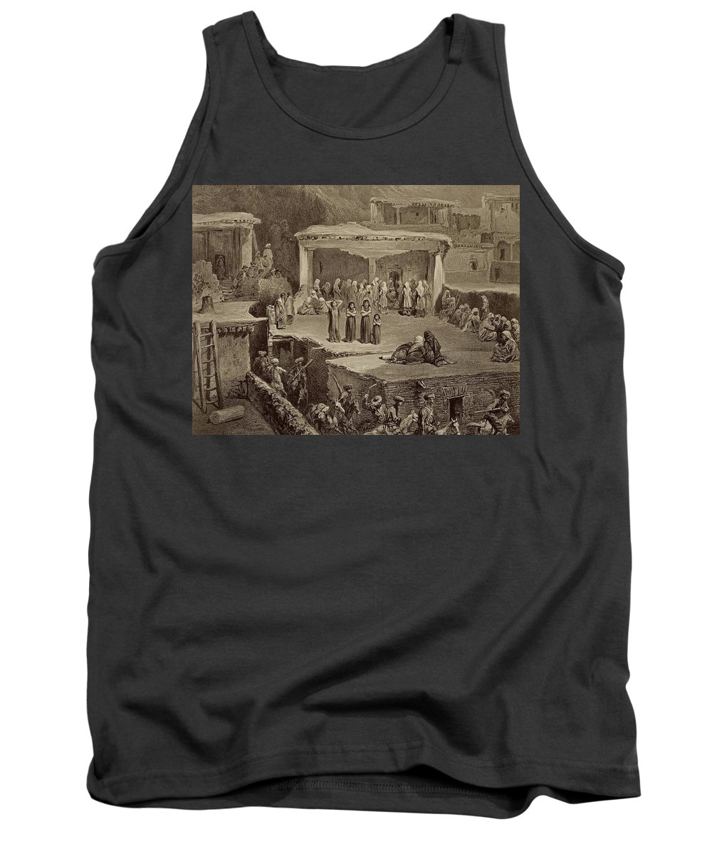 Daghestan Tank Top featuring the drawing Funeral Ceremony In The Ruins by Grigori Grigorevich Gagarin