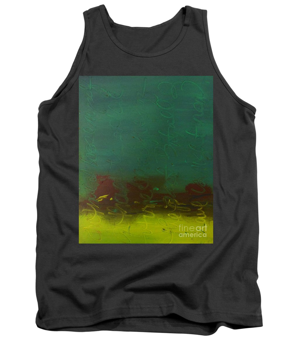 Green Tank Top featuring the painting Right Now by Kitty Mecham