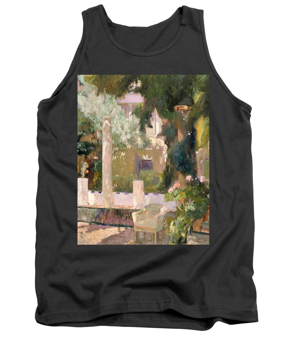 Painting Tank Top featuring the painting Garden At The Sorolla House by Mountain Dreams