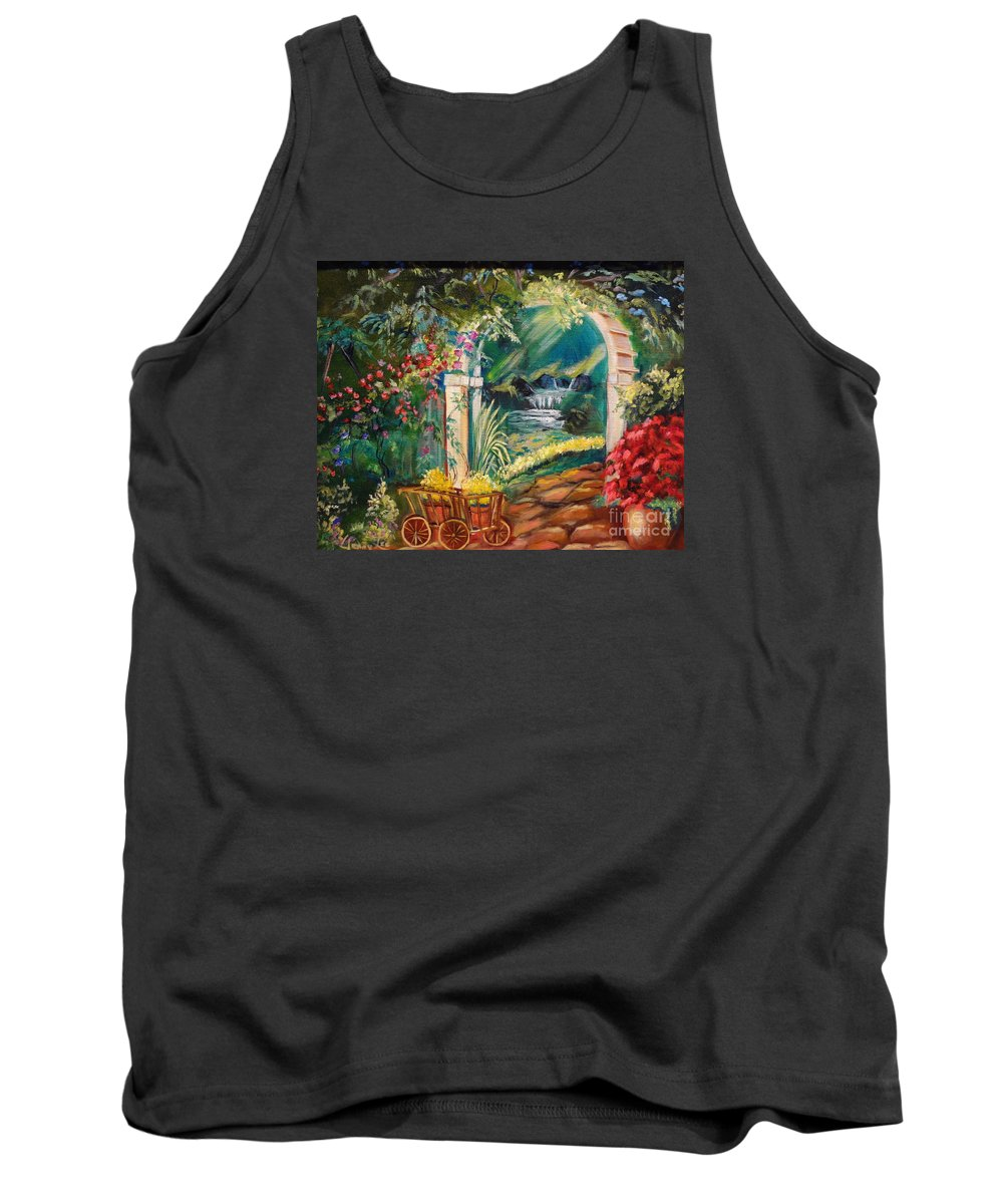 Garden Scene Tank Top featuring the painting Garden Of Serenity Beyond by Jenny Lee
