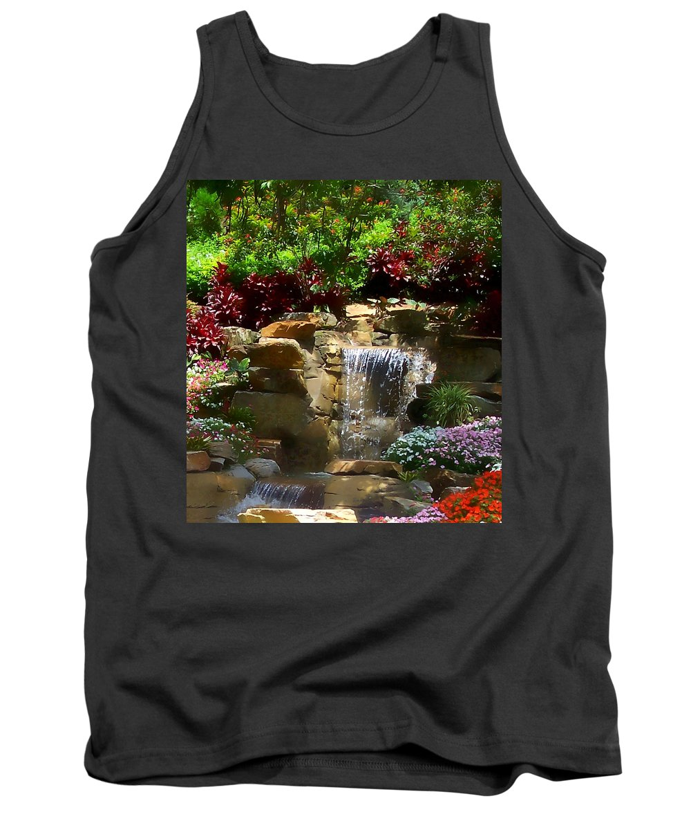 Garden Tank Top featuring the photograph Garden Waterfalls by Pharris Art