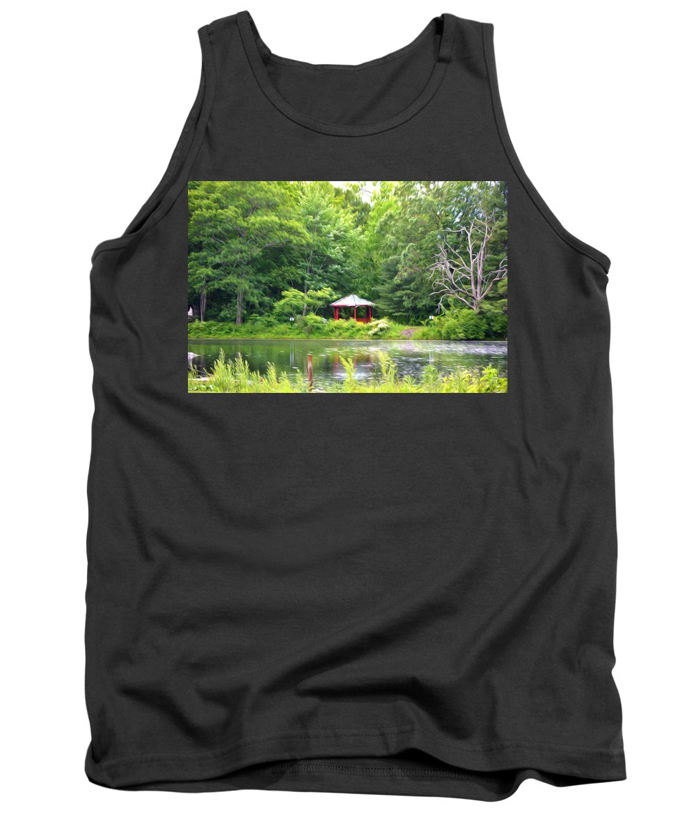 Tower Tank Top featuring the painting Garden With Pond by Jeelan Clark
