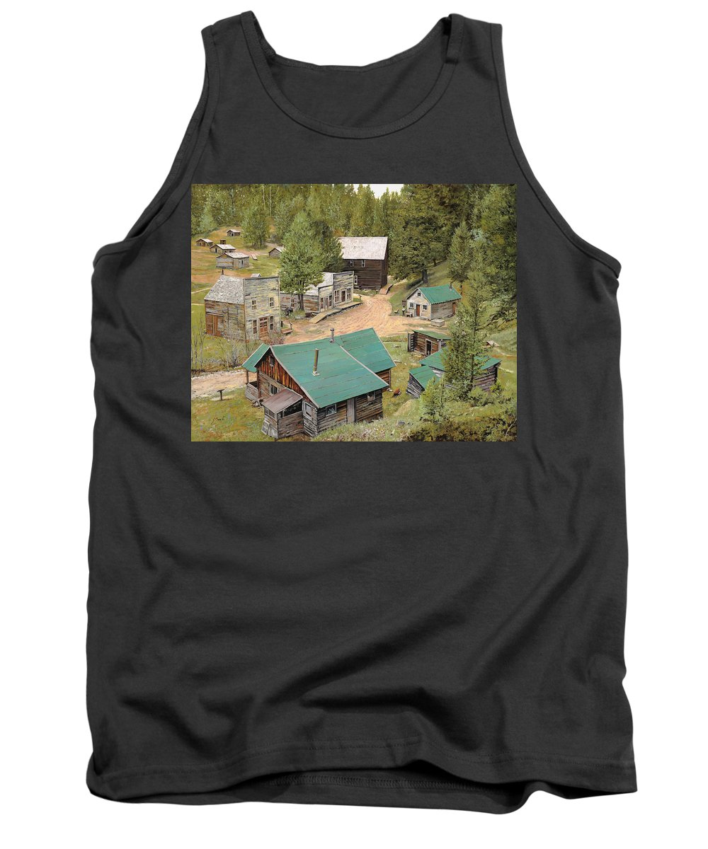 Ghost Town Tank Top featuring the painting Garnet In Montana by Guido Borelli