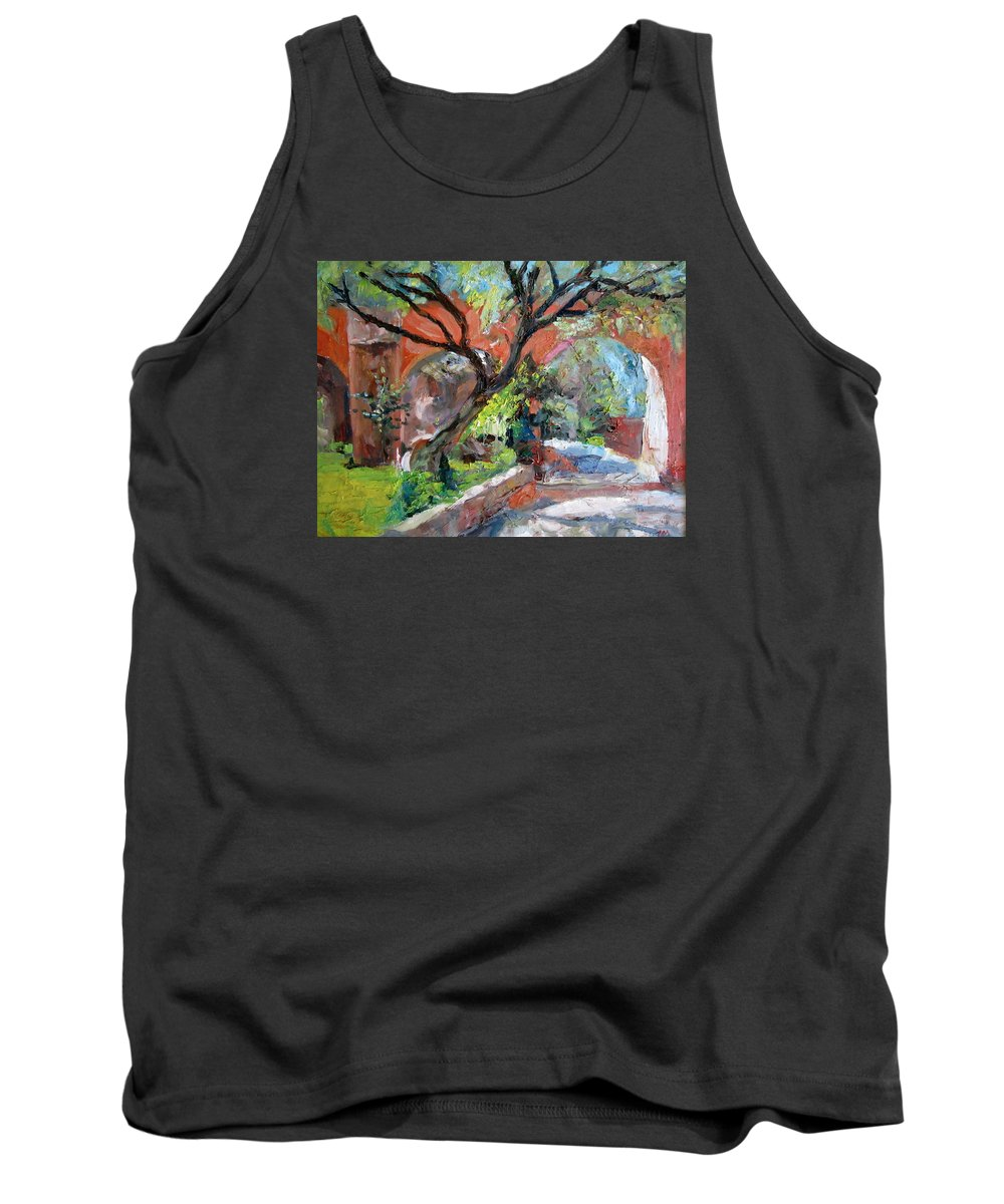 Sunny Day Tank Top featuring the painting Gate by Jiemin g Wang