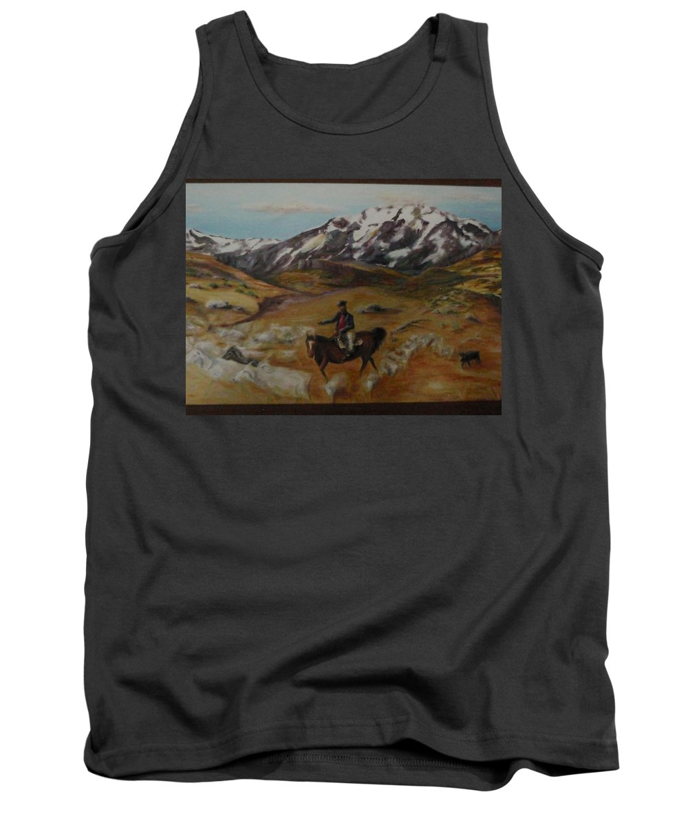Landscape Tank Top featuring the painting Gaucho by Jeff Troeltzsch