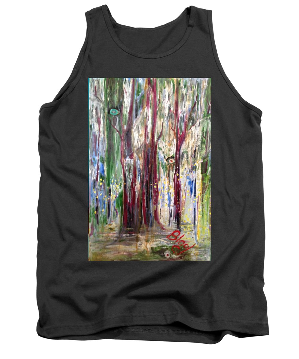 Trees Tank Top featuring the painting Georgia Marsh in March by Peggy Blood