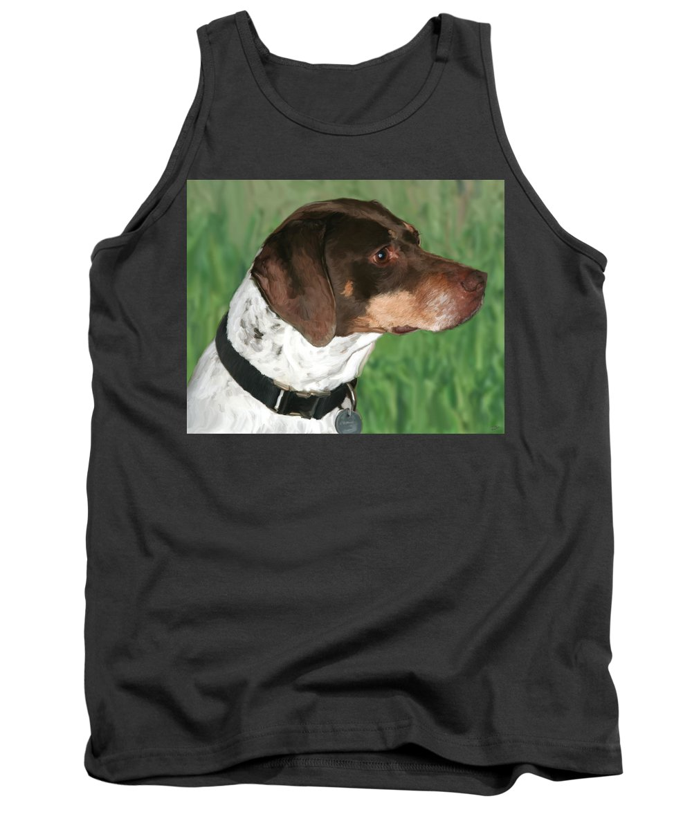 Dog Tank Top featuring the painting German Shorthaired Pointer by Paul Tagliamonte