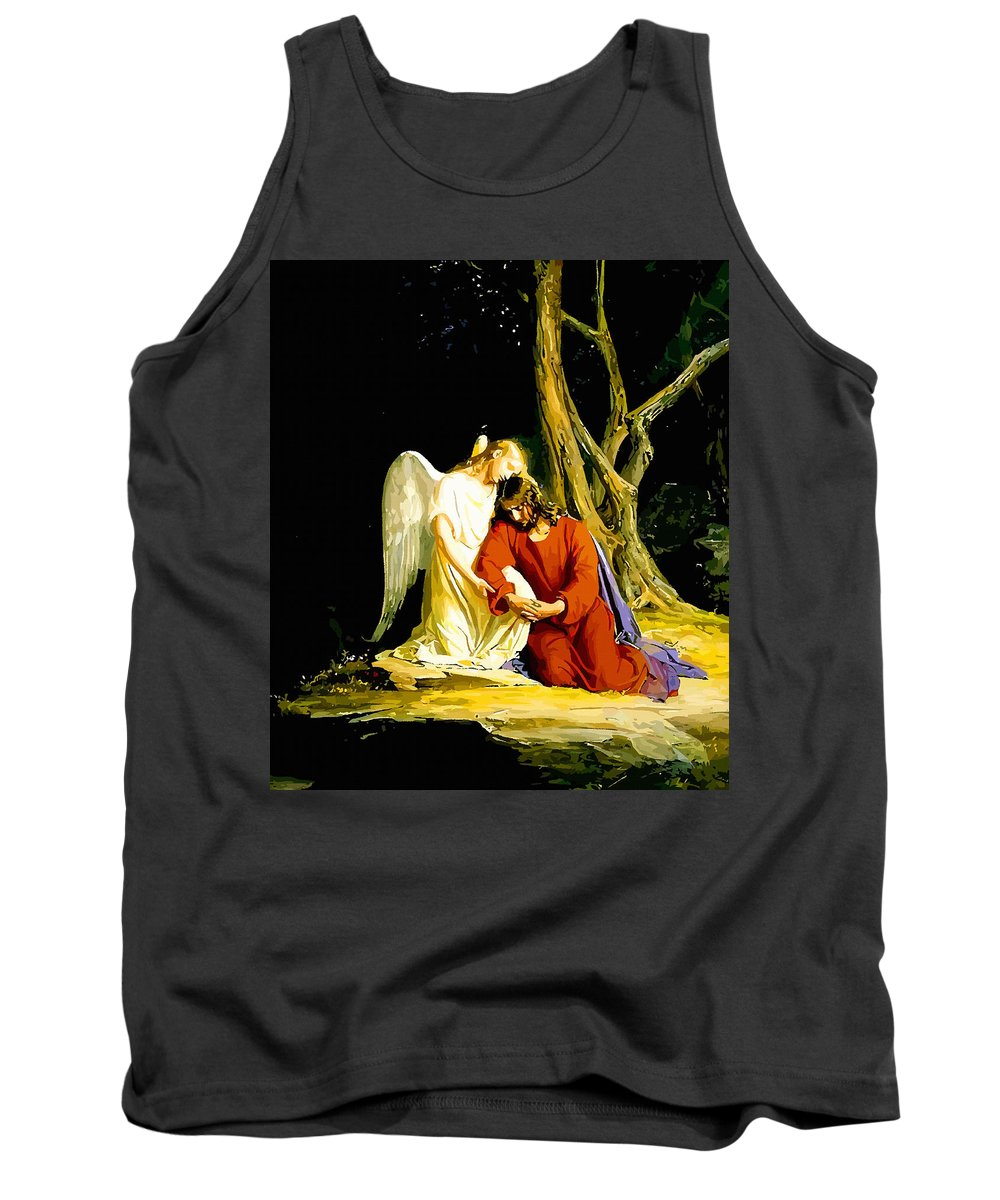 Retouched Tank Top featuring the digital art Gethsemane by Don Kuing