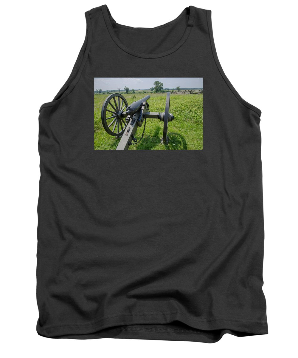 Gettysburg Tank Top featuring the photograph Gettysburg Cannon 2 by Susan McMenamin