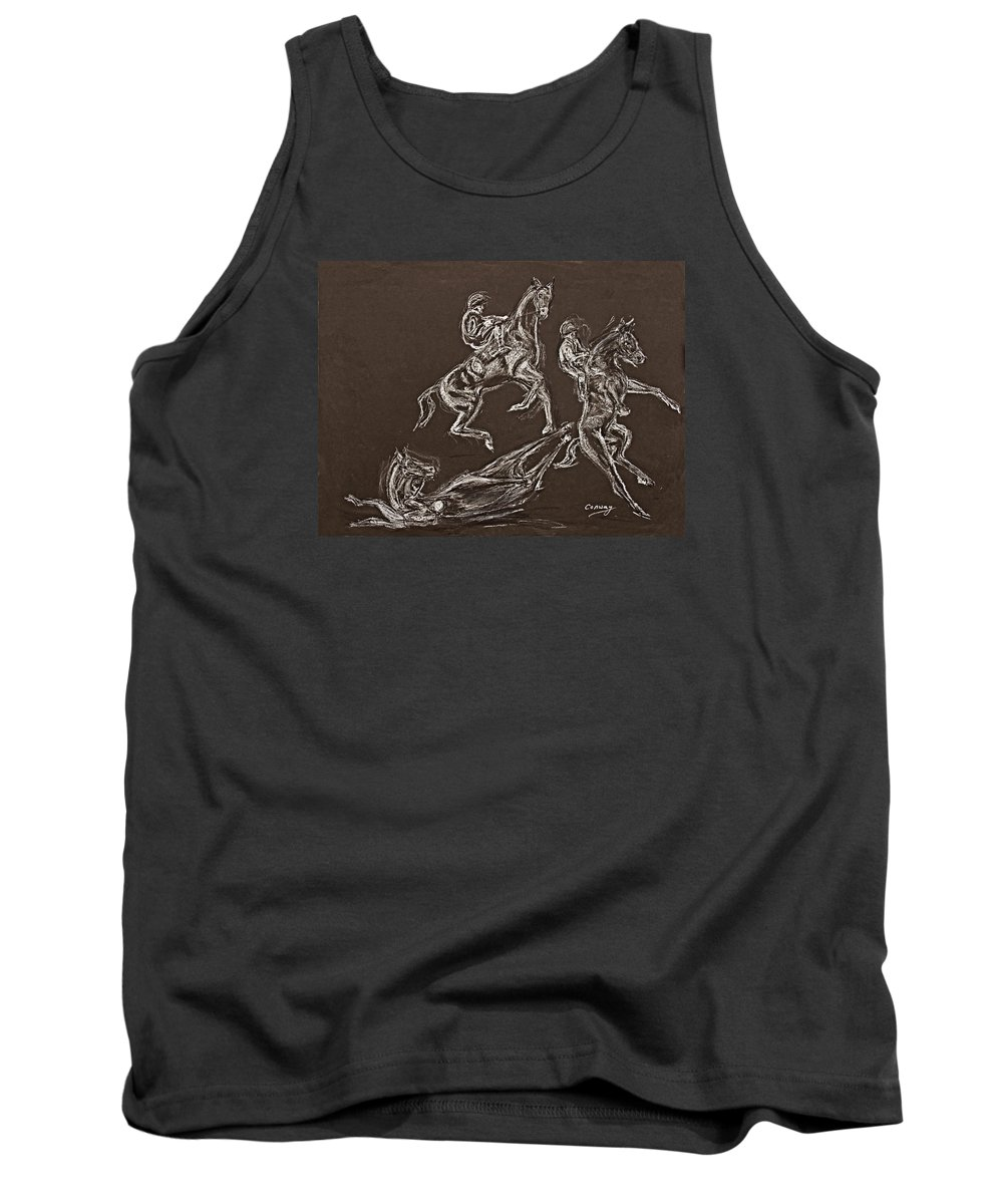 Rearing Horse Tank Top featuring the drawing Ghost Riders In The Sky by Tom Conway