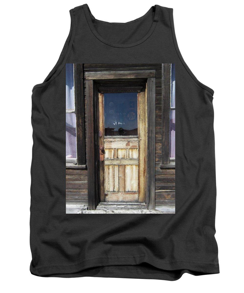Door Tank Top featuring the photograph Ghost Town Handcrafted Door by Daniel Hagerman