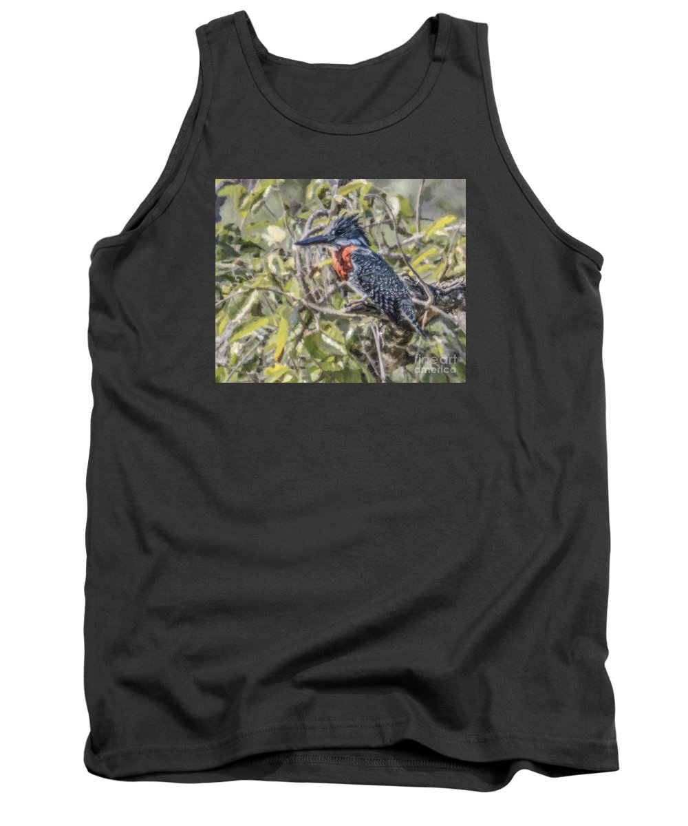 Giant Kingfisher Tank Top featuring the digital art Giant Kingfisher by Liz Leyden
