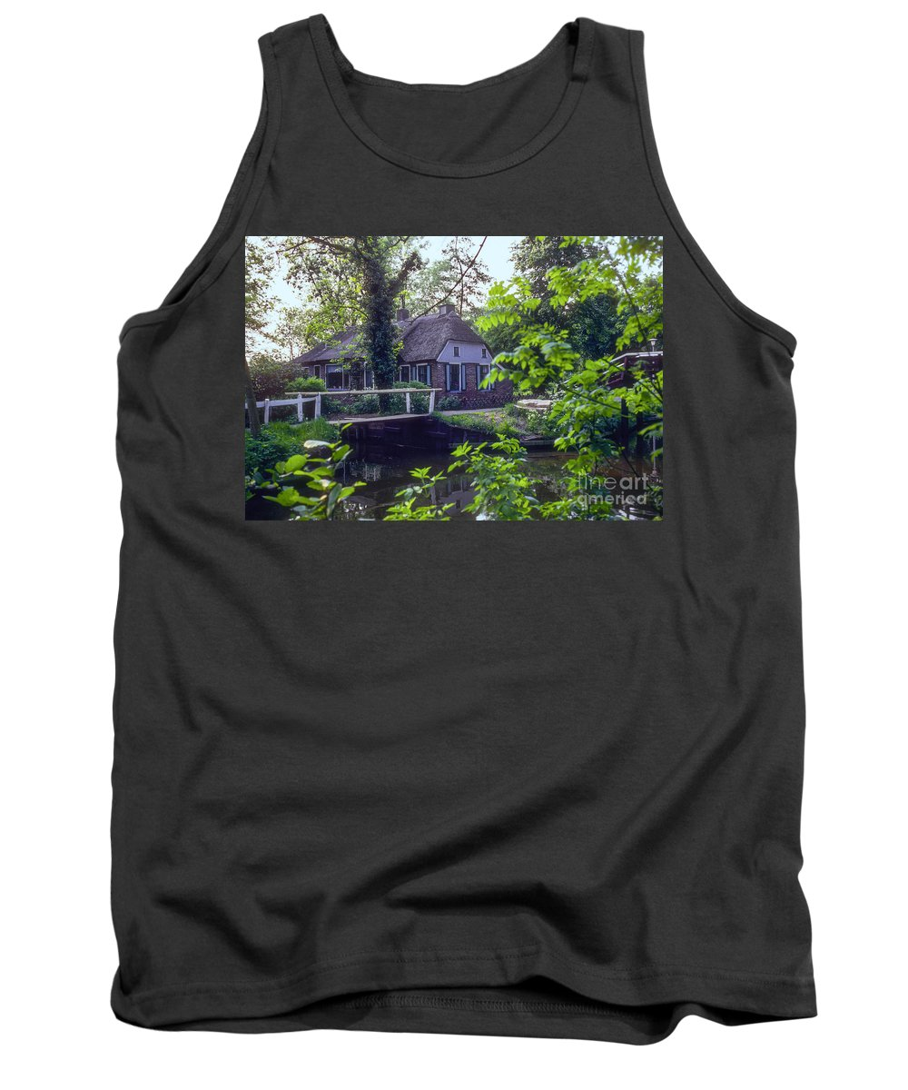 Giethoorn Thatched House Houses Home Home Bridge Bridge Canal Canals Tree Trees Water Building Buildings Structure Structures Architecture Landscape Landscapes Holland Netherlands Tank Top featuring the photograph Giethoorn Thatch by Bob Phillips
