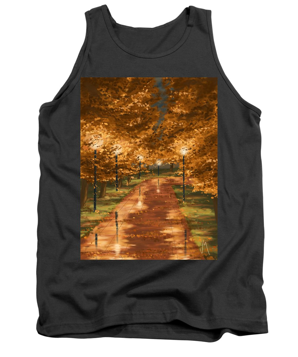 Autumn Tank Top featuring the painting Gold Reflections by Veronica Minozzi