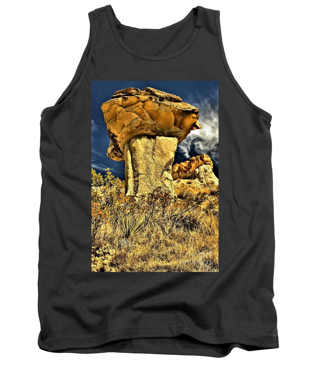 Theodore Roosevelt National Park Tank Top featuring the photograph Golden Hoodoo by Adam Jewell