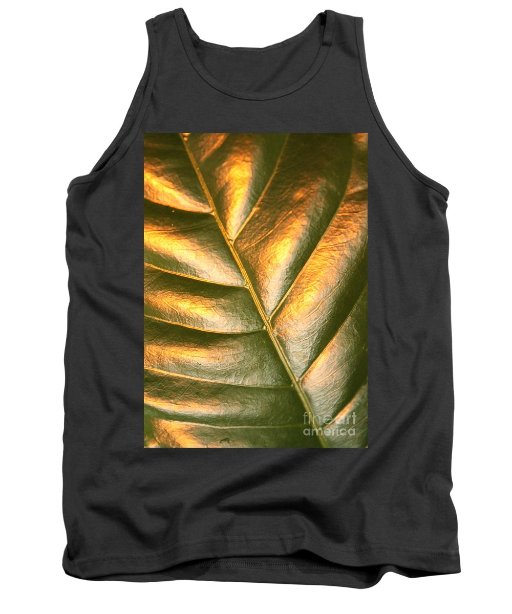 Gold Tank Top featuring the photograph Golden Leaf 2 by Carol Groenen