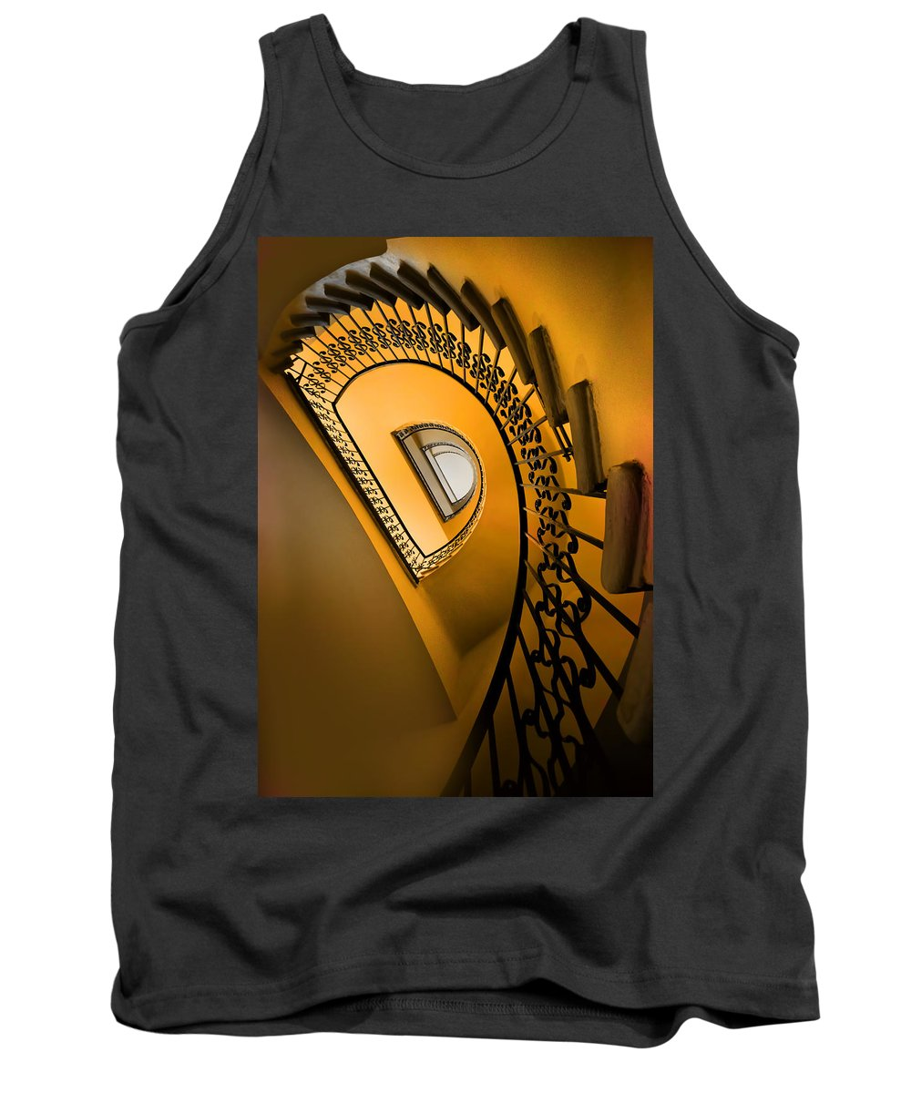 Architecture Spiral Tank Top featuring the photograph Golden Staircase by Jaroslaw Blaminsky