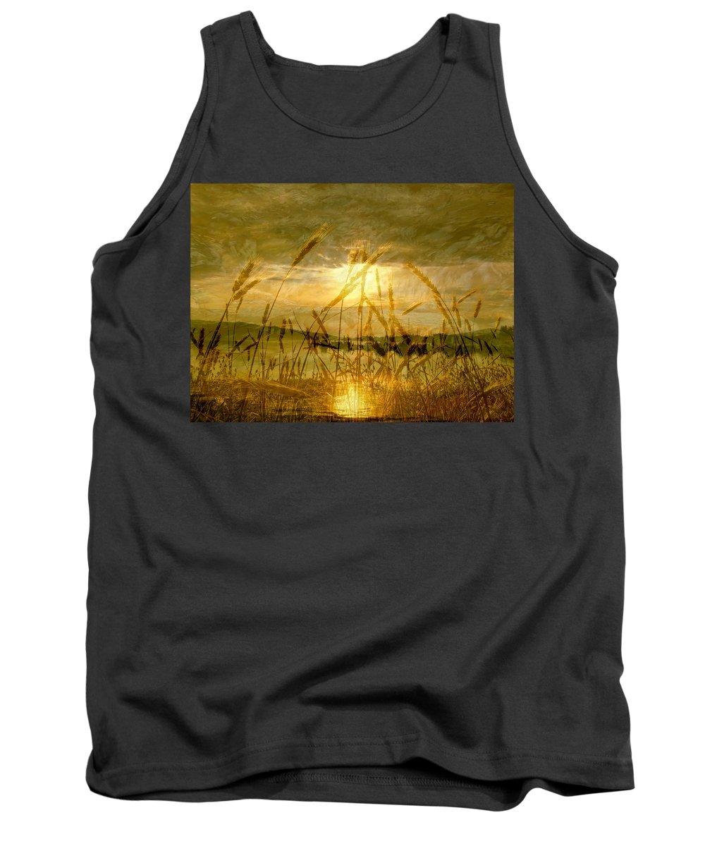Golden Sunset Tank Top featuring the photograph Golden Sunset by Barbara St Jean