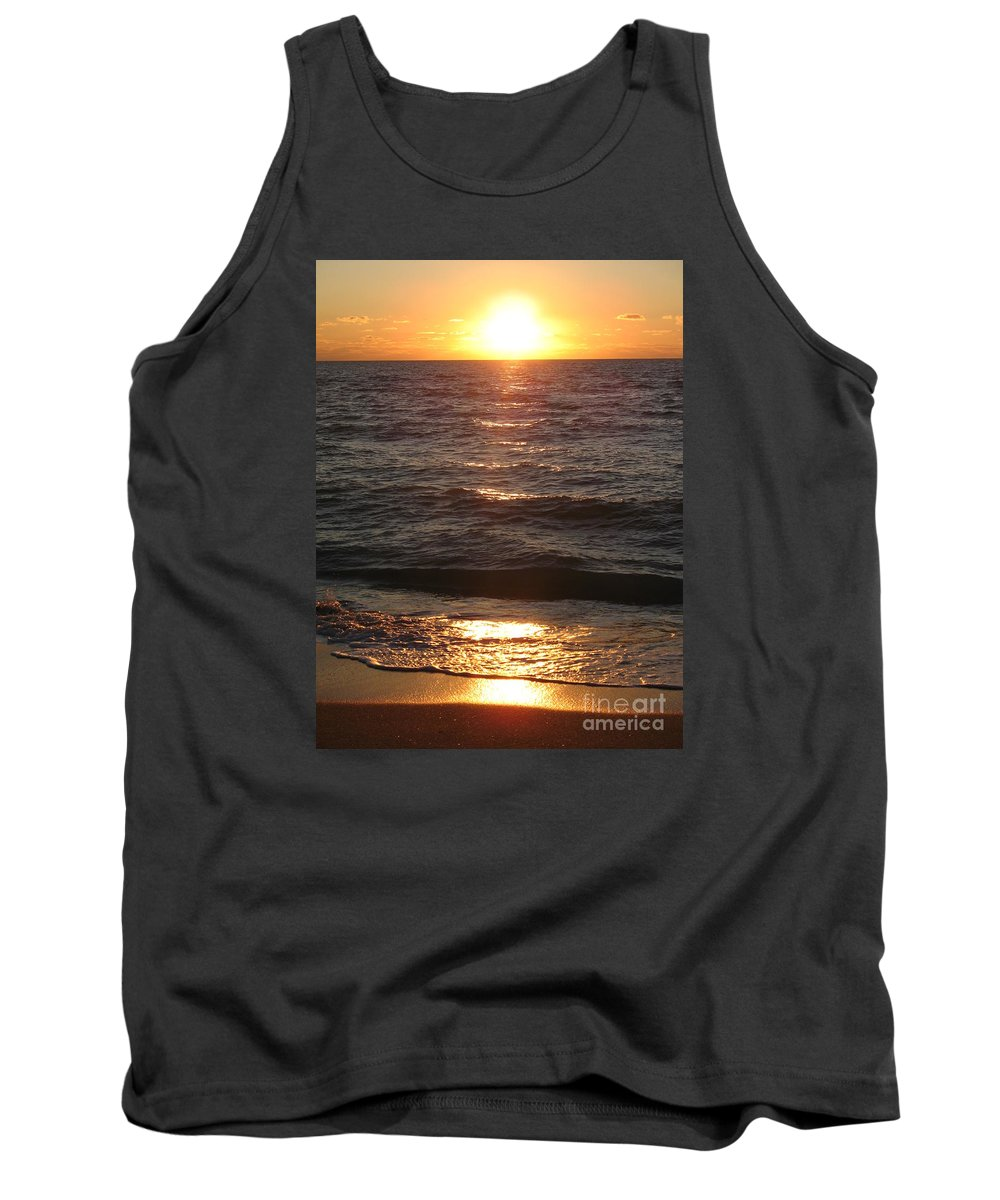 Sunset Tank Top featuring the photograph Golden Sunset At Destin Beach by Christiane Schulze Art And Photography
