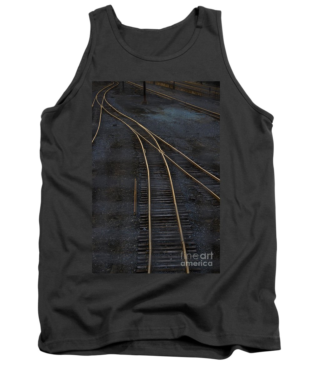 Black Tank Top featuring the photograph Golden Tracks by Margie Hurwich