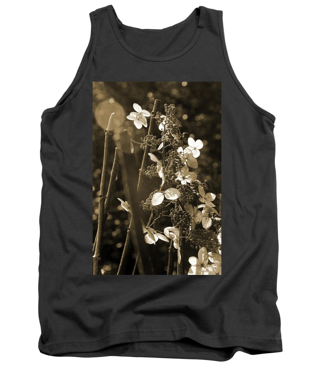 Arboretum Tank Top featuring the photograph Goldenrod In Sepia by Carolyn Stagger Cokley