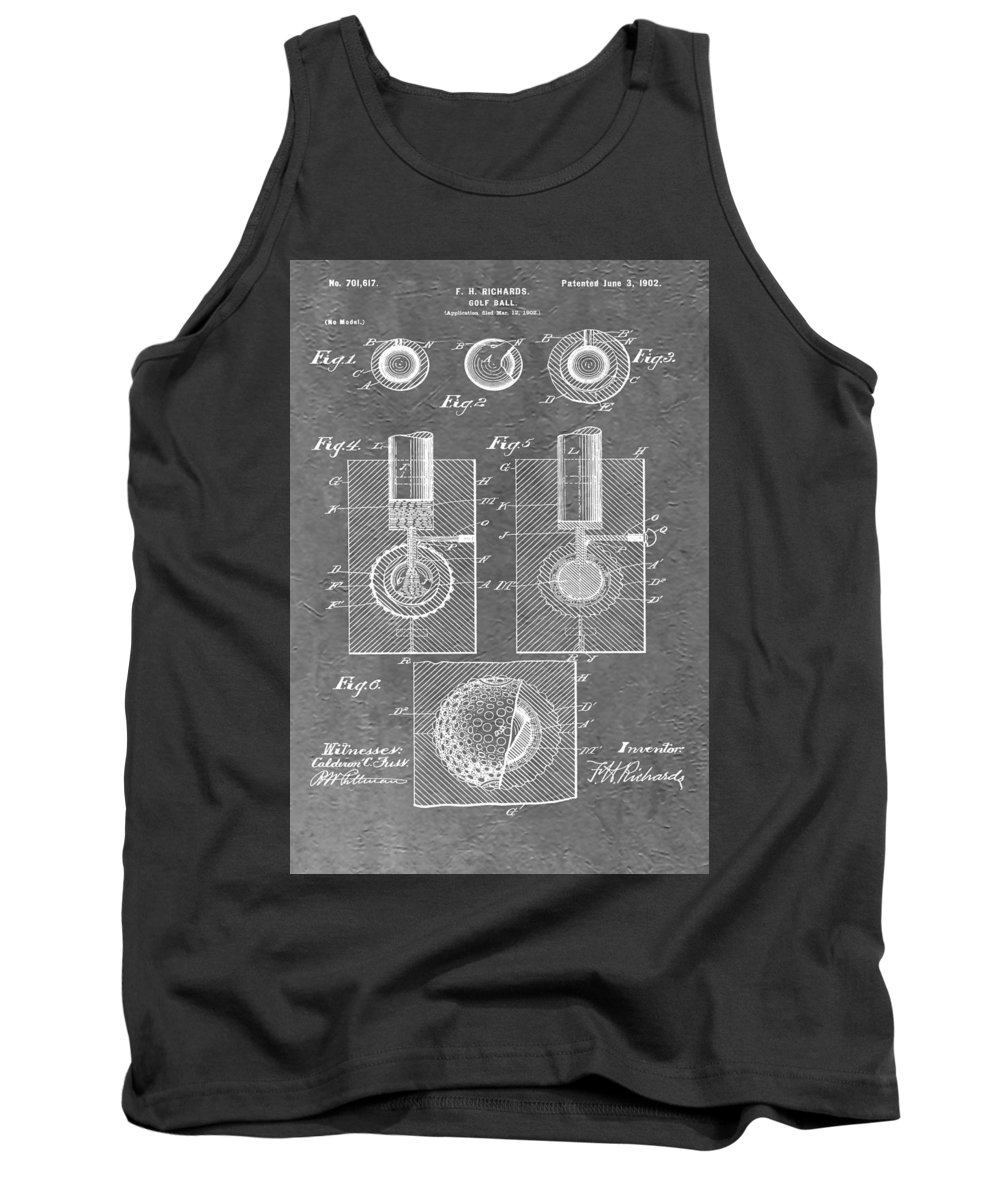 Golf Ball Patent Tank Top featuring the digital art Golf Ball by Dan Sproul
