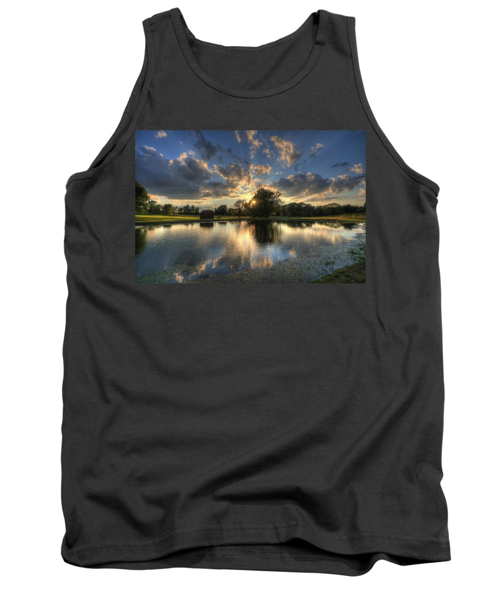 Salem Hills Tank Top featuring the photograph Golfcourse Sunset by David Dufresne