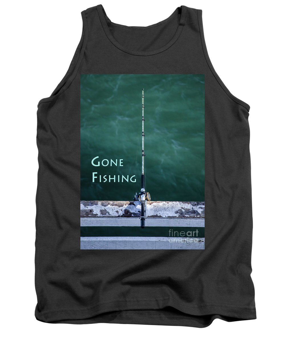 Fishing Poles Pole Photographs Photography Tank Top featuring the photograph Gone Fishing At The Pier With My Rod And Reel by Jerry Cowart