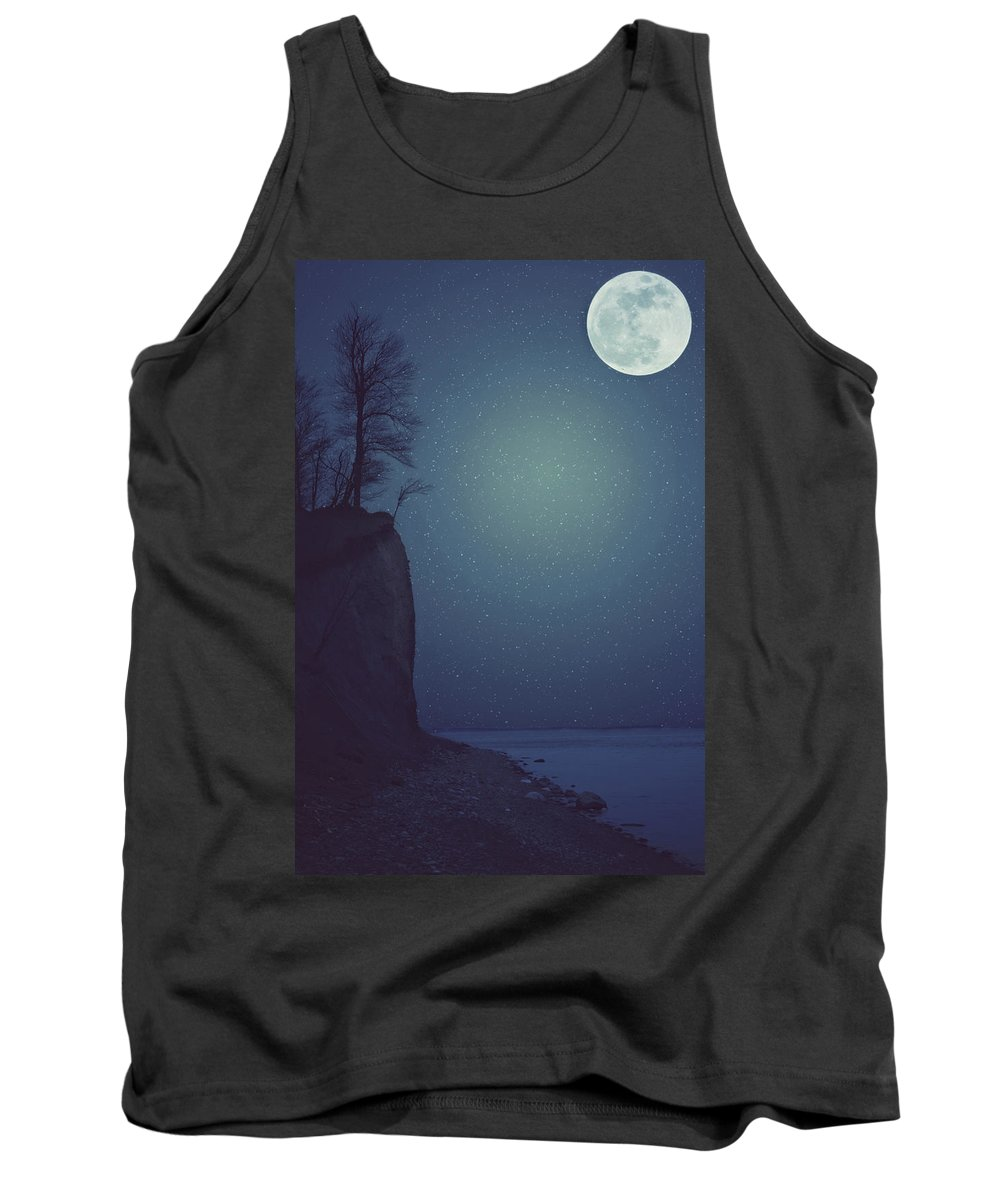 Blue Tank Top featuring the photograph Goodnight Moon by Carrie Ann Grippo-Pike