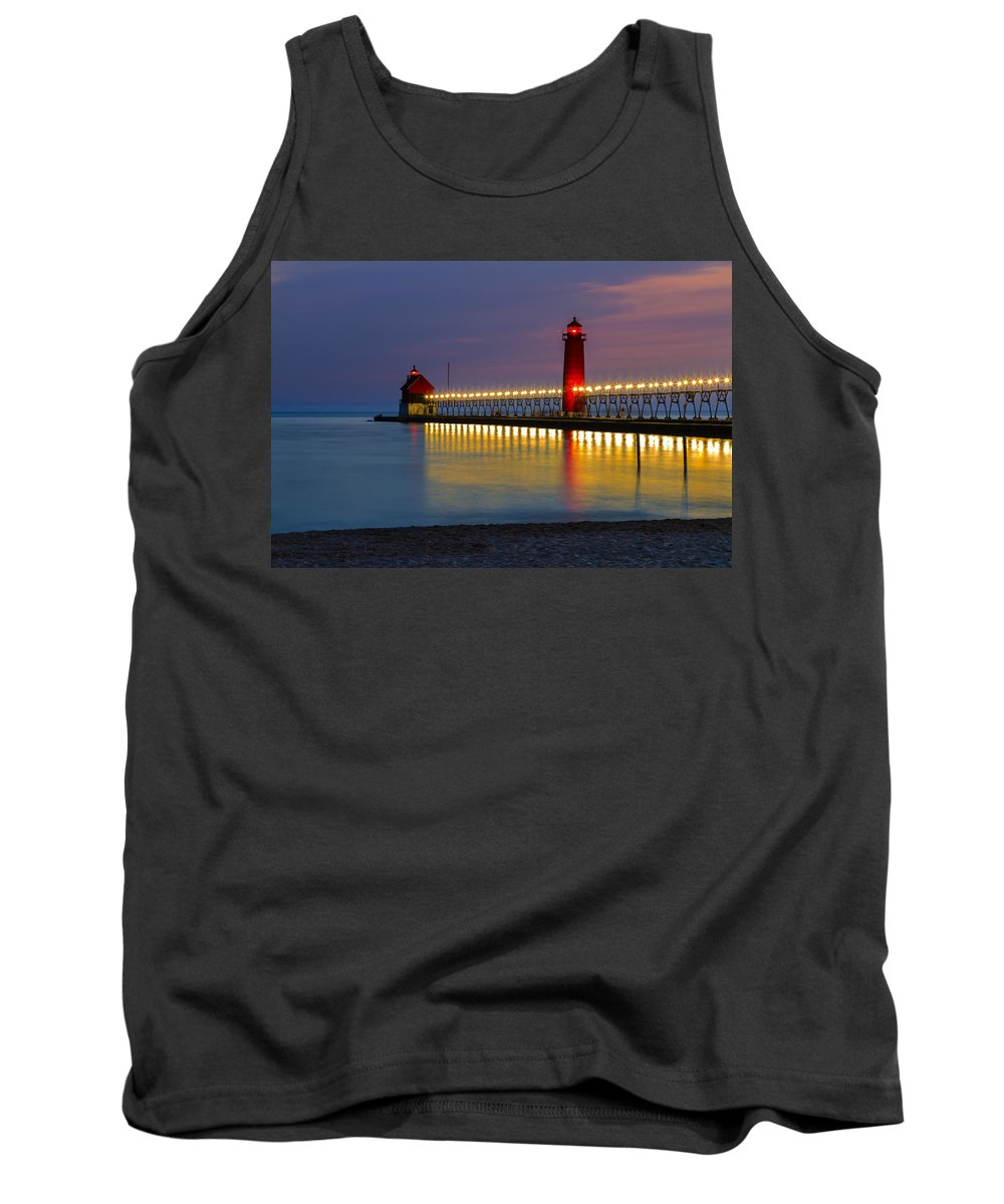 Sunset Grand Tank Top featuring the photograph Grand Haven South Pier Lighthouse by Jack R Perry